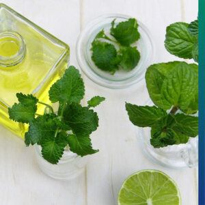 Lemon and peppermint oil add flavor to the water.