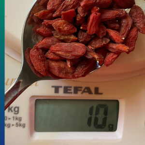 A tablespoon of Goji berries weighs about 10 gr.